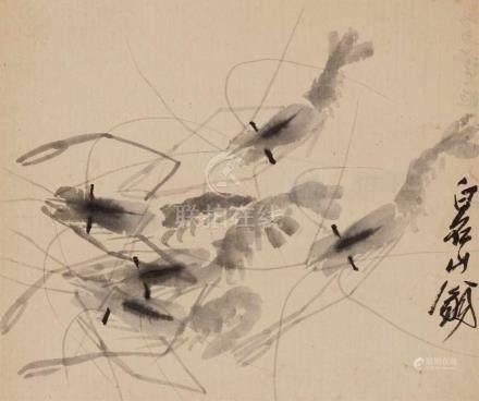 Qi BaishiGarnelen. Hängerolle. Tusche auf Papier. Sign.: Baishi Shanweng. 31 x 37 cmProvenienzDr.