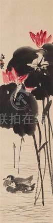 Qi BaishiEntenpaar im Lotosteich. Hängerolle. Tusche und Farben auf Papier. Sign.: Qi Huang und