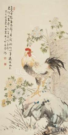 Zhang DannongHahn auf Felsen. Hängerolle. Tusche und Farben auf Papier. Aufschrift, zyklisch datiert