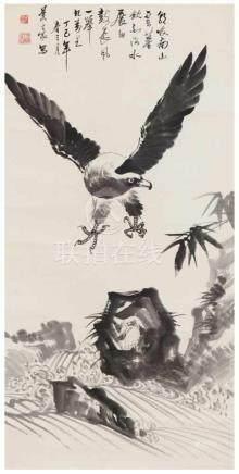 Zhang JinghaoAdler und Bambus. Hängerolle. Tusche auf Papier. Aufschrift, zyklisch datiert dingsi (