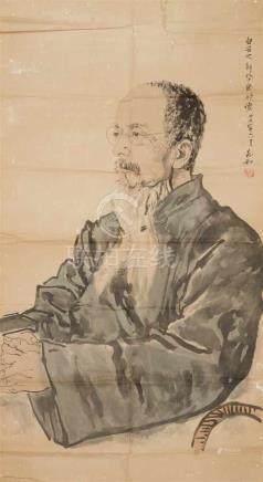 Jiang ZhaohePortrait des 80-jährigen Qi Baishi. Tusche und wenige Farben auf Papier. Aufschrift,