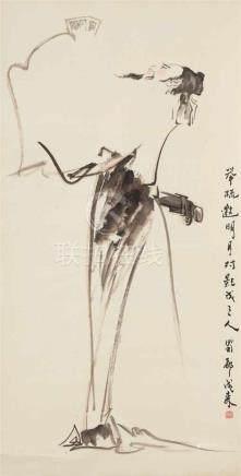 Unbekannter Künstler . 20. Jh.Der Dichter Li Bai. Hängerolle. Tusche und wenige Farben auf Papier.