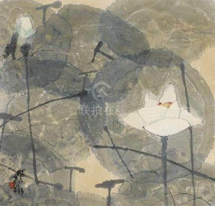 Yang ZhengxinLotos. Tusche und Farben auf Papier. Sign. und Siegel: Yang Zhengxin. Mit
