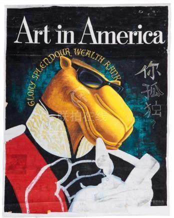 """Zhou Tiehai""""Art in America"""". Collage und Gouache auf Zeitungspapier. Zhou Tiehai lebt und arbeitet"""
