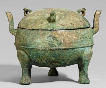Speisebehälter vom Typ ding. Bronze. Nordchina. Östliche Zhou-Zeit/Zeit der Frühlings- und