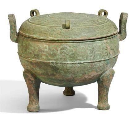 Sehr großer Speisebehälter vom Typ ding. Bronze. Nordchina, Shanxi/Henan Provinzen, Östliche Zhou/