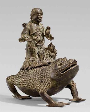 Weihrauchbrenner. Bronze. Qing-ZeitAuf einer großen dreibeinigen Kröte mit wenig geöffnetem Maul