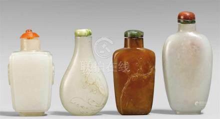 Vier snuff bottle. Jade und Stein. 19./20. Jh.Zwei aus heller Jade, a) von viereckiger Form und