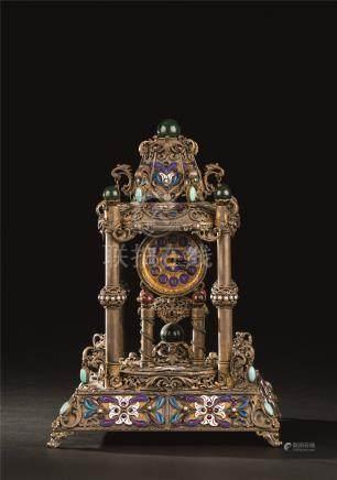 十九世纪 银烧蓝珐琅钟表
