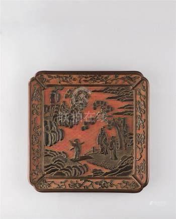 明代(1368-1644) 大漆携琴访友纹方盘