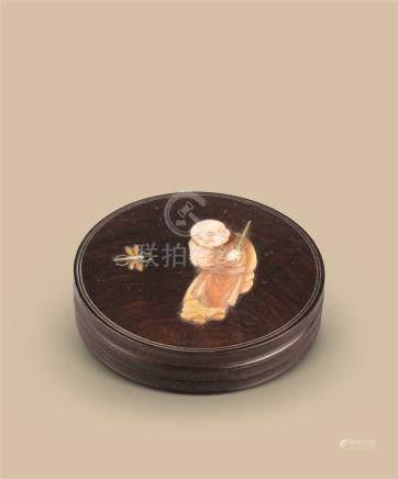 明代(1368-1644) 紫檀嵌百宝童子纹圆盖盒