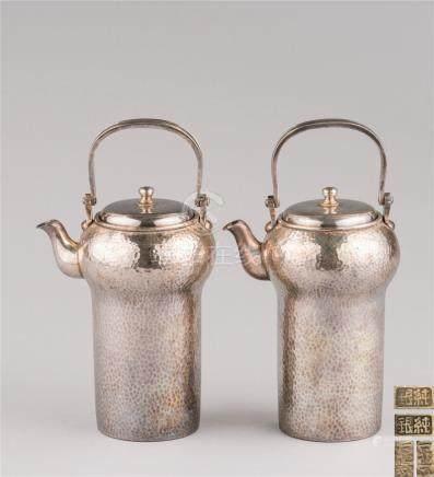 一乐斋造 纯银温酒器 (一对)