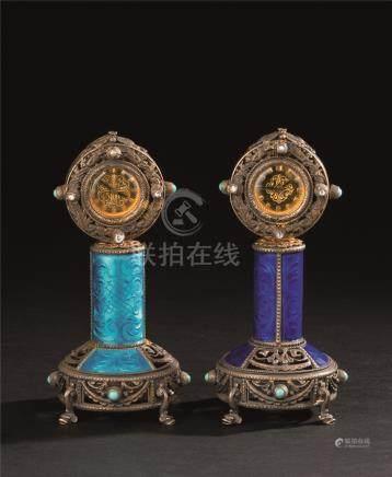 十九世纪 银烧蓝对钟