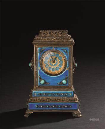 十九世纪 银烧蓝鎏金座钟