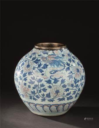清代(1644-1911) 青花釉里红龙凤花卉纹罐