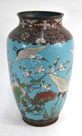 A Japanese cloisonne enamel vase, Meiji/Taisho Period