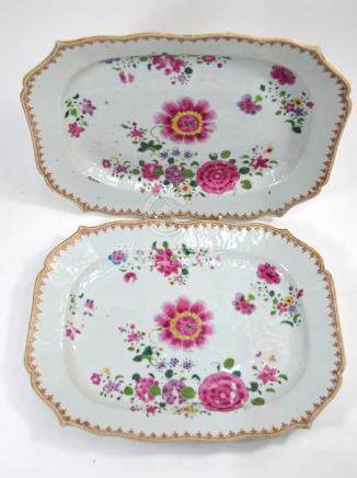 A pair of Chinese Export famille rose dishes or tureen stands, Qianlong