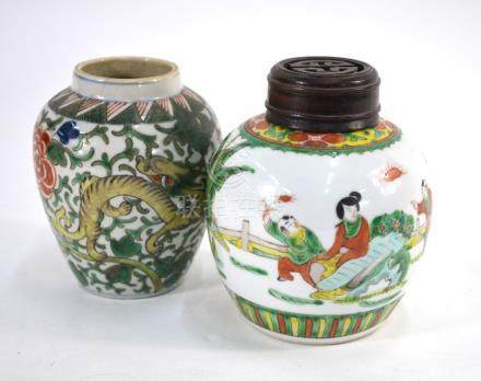 A Chinese Wucai oviform vase with unglazed base and a ginger jar