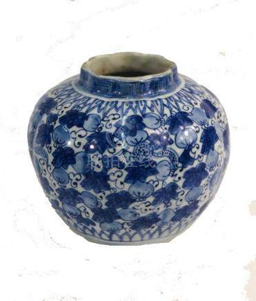 A Chinese blue and white vase of lobed form, late Ming/early Qing
