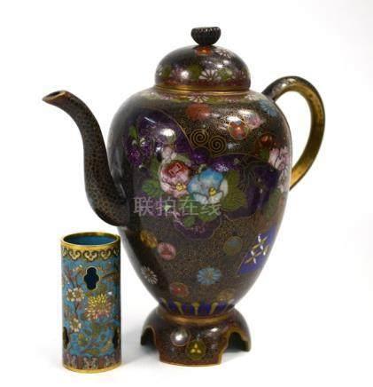 A Japanese cloisonne enamel ewer, Meiji/Taisho Period and a cloisonne enamel cylindrical vessel
