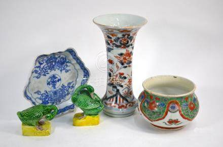 A Japanese Imari vase, a Chinese spoon tray, a famille verte pot and two susancai ducks