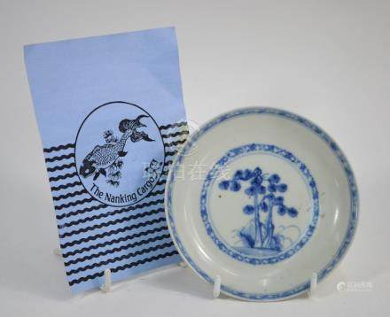 A Nanking Cargo blue and white saucer dish with certificate
