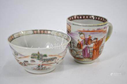 A Chinese export teabowl and coffee cup, 18th century