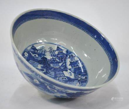 A Chinese export blue & white punch bowl