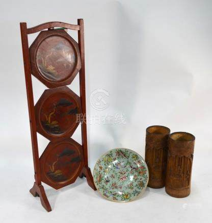 A pair of late Qing Chinese bamboo brush pots, famille rose plate and cake stand