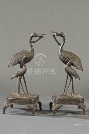 Two pairs of patinated metal herons, China Dynasty Qing, lat