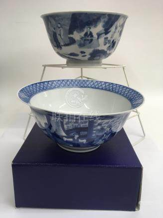 Two Chinese Kangxi blue and white bowls comprising one painted with scholars, approx 22.5cm