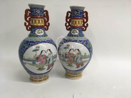 A pair of Chinese republican style vases decorated with figures 30 cm
