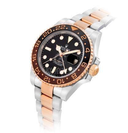 """勞力士,18k紅金及不銹鋼自動上弦鏈帶腕錶,配兩地時間,中心秒針及日曆顯示,""""GMT-Master II"""",型號126711CHNR,約2018年製"""