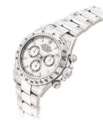 """勞力士,精細,不銹鋼自動上弦鏈帶腕錶,配計時功能及象牙色錶盤,""""宇宙計型廸通拿"""",型號116520,約2000年製"""