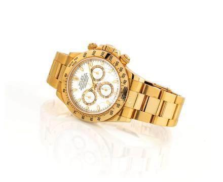 """勞力士,精細,18k金自動上弦鏈帶腕錶,配計時功能及象牙色錶盤,""""宇宙計型廸通拿"""",型號116528,約2000年製"""