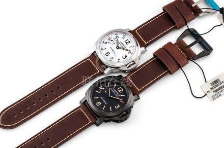 """沛納海,罕有,類金剛石碳塗層不銹鋼及不銹鋼枕形腕錶套裝,配8天動力儲存,""""Luminor 8 Days Set"""",型號PAM00594及PAM00602,約2014年製"""