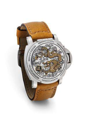 """沛納海,精細及罕有,不銹鋼自動上弦枕形腕錶,配日曆顯示及隱藏錶盤,""""Luminor Seal and For Purdey"""",型號PAM00840,為龍年而製,約2012年製"""