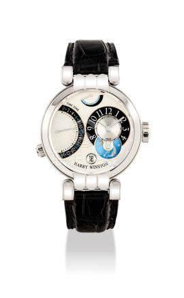 """海瑞溫斯頓,精細,18k白金腕錶,配逆返兩地時間,動力儲存,日夜及日曆顯示,""""Premier Excentre Time Zone"""",型號200-MMTZ39W,約2004年製"""