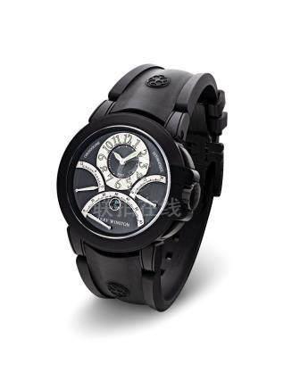 """海瑞溫斯頓,精細,類金剛石碳塗層鋯合金自動上弦腕錶,配計時功能及逆返錶盤,""""Triple Retrograde Chronograph"""",型號400-MCRA44ZK,約2010年製"""