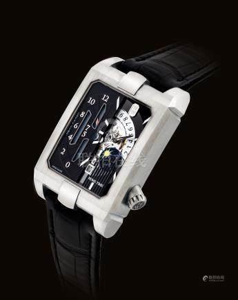 """海瑞溫斯頓,精細,鋯合金自動上弦長方形兩地時間腕錶,配日曆及日夜顯示,""""Avenue Dual Time Automatic"""",型號AVEATZ37ZZ001,約2017年製"""