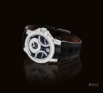 海瑞溫斯頓,精細,18k白金鑲鑽石自動上弦腕錶,配日曆顯示,逆返秒及星期顯示,型號400-UA BI36W,約2010年製