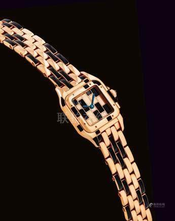 """卡地亞,獨特,18k紅金及黑色噴漆女裝石英鏈帶腕錶,""""Panthere"""",約2012年製"""