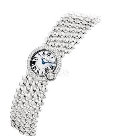 """卡地亞,精細,18k白金鑲鑽石石英女裝鏈帶腕錶,配貝母錶盤""""Ballon Blanc"""",型號3721,約2014年製"""