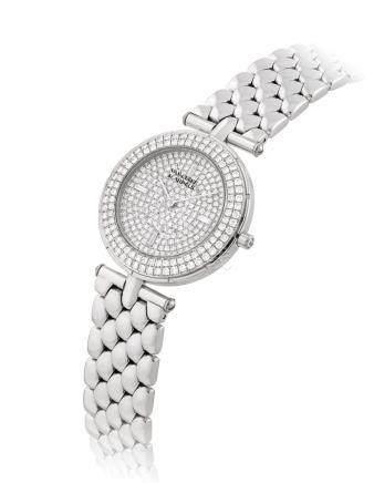 梵克雅寶,精細,18k白金鑲鑽石鏈帶腕錶,型號33107 B2P,約1990年製