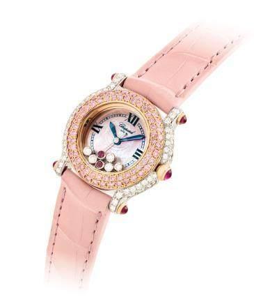 """蕭邦,精細,18k雙色金鑲鑽石,粉紅鑽石及紅寶石女裝石英腕錶,配貝母錶盤,""""Happy Sport"""",型號27/6244/401,約2006年製"""
