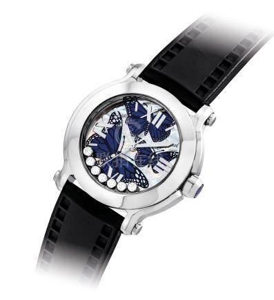 """蕭邦,不銹鋼鑲鑽石女裝石英腕錶,配中心秒針及貝母錶盤,""""Happy Sport"""",限量生產,約2010年製"""