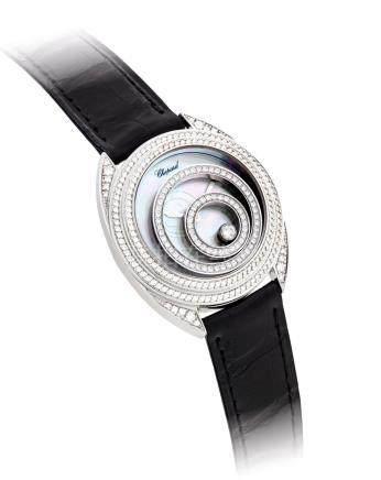 """蕭邦,精細,18k白金鑲鑽石女裝石英腕錶,配貝母錶盤,""""Happy Spirit"""",型號20/7061-20,約2010年製"""