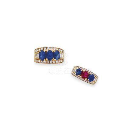 藍寶石、紅寶石及鑽石戒指兩枚Bulgari設計