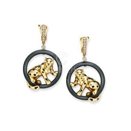 鑽石及石榴石「Panthère」耳環Cartier設計