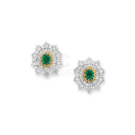 祖母綠及鑽石耳環Buccellati設計